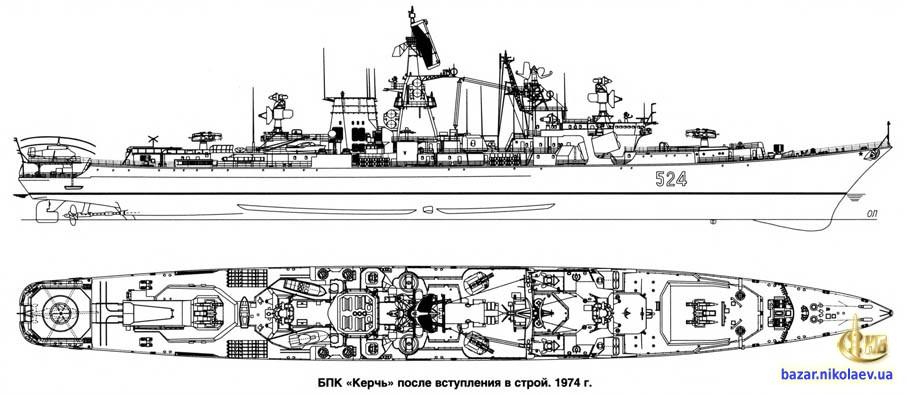 Чертеж БПК Керчь. 1974 год