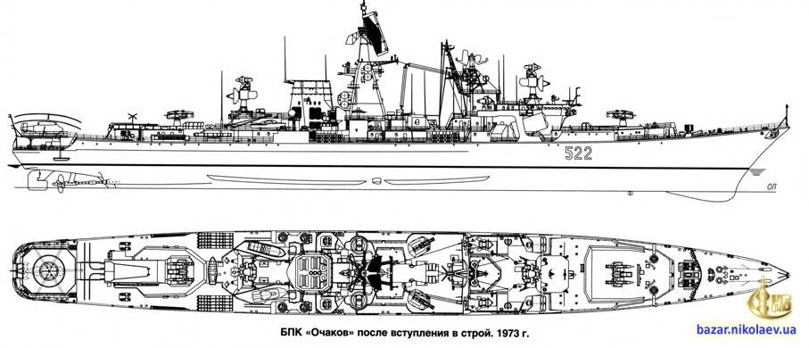 Чертеж БПК Очаков 1973 год