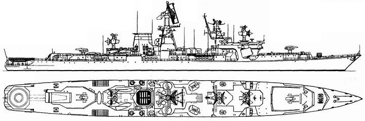 Большой противолодочный корабль пр.1134Б - общий вид