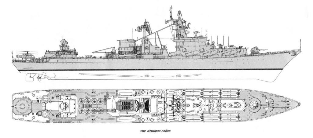 РКР Адмирал флота Лобов Боковой вид и вид сверху.