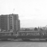 Состав из трамваев КТМ5М3 пересекает пр Ленина по ул Декабристов
