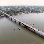 Варваровский мост вид с вертолета.