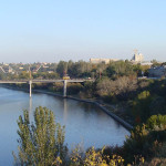 Вид на Ингульский мост и набережную р. Ингул.