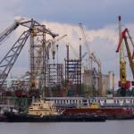Николаевский порт строится. Вид с каботажного мола. 2015 год.